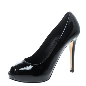 Le Silla Patent Leather Peep Toe Platform Black Pumps