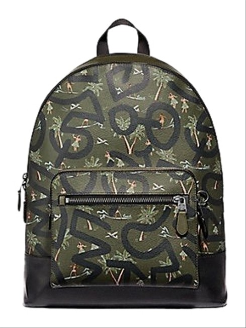 Item - West with Hula Dance Print F50056 Multicolor Leather Backpack