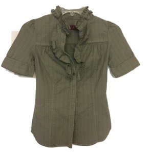 Level 99 Short Sleeve Ruffle Seam Detail Mother Of Pearl Top Gray