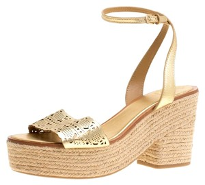 Tory Burch Leather Platform Gold Sandals