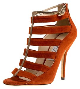 Jimmy Choo Suede Leather Strappy Orange Boots