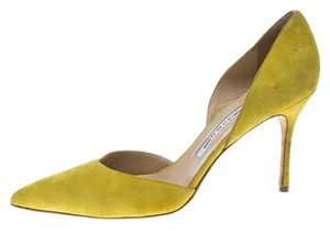 Manolo Blahnik Suede Pointed Toe Yellow Pumps