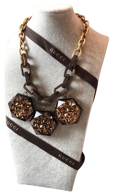 Item - Brown Large Crystal Geometric Chain Necklace