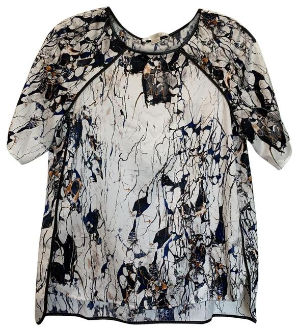 Item - Marble Leather-trimmed Blouse Size 6 (S)