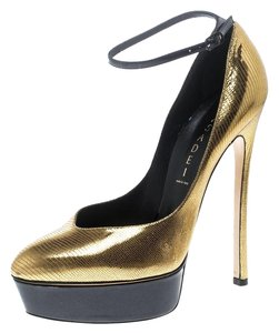 Casadei Metallic Leather Ankle Platform Gold Pumps