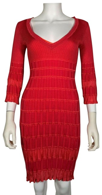 Item - Pink Bodycon Knit Red Made In Italy 3/4 Sleeves Mid-length Cocktail Dress Size 4 (S)