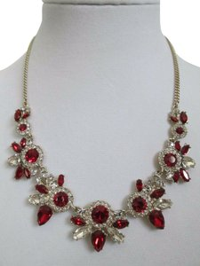 Givenchy Siam Red Swarovski Crystal Cluster Gold Statement Station Necklace