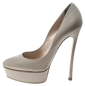 Casadei Leather Platform Grey Pumps