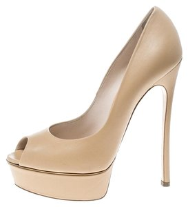 Casadei Leather Peep Toe Platform Beige Pumps