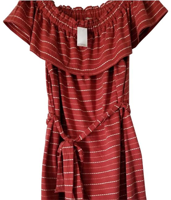 Item - Dark Coral and White Atl Boatneck Cotton Mid-length Short Casual Dress Size 16 (XL, Plus 0x)