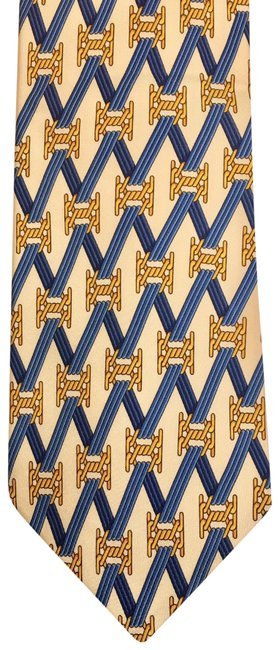 Item - Gold and Blue Rare Tie with 3 Signatures. No Damage Scarf/Wrap
