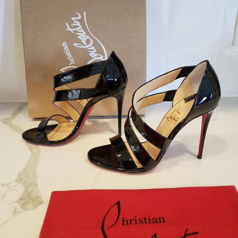 grossiste 2fde9 2e9b2 Christian Louboutin Black World Copine 100 Patent Leather Strappy Pumps  Heels Sandals Size EU 37 (Approx. US 7) Regular (M, B) 20% off retail