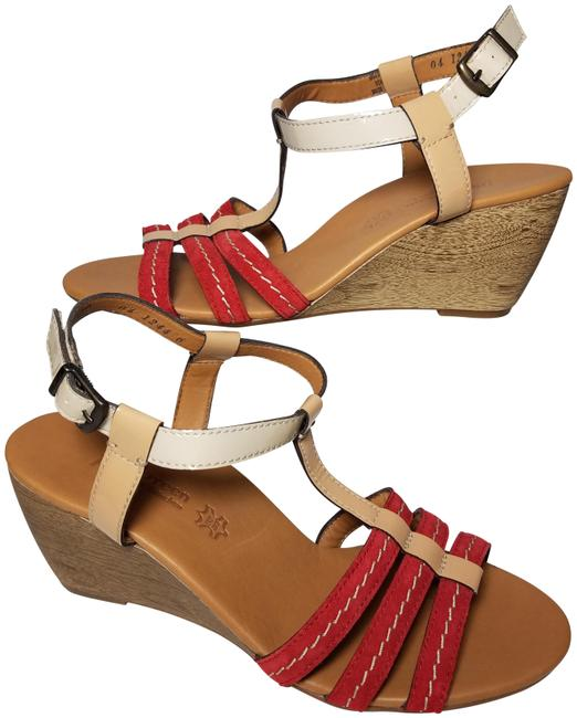 Item - Red/Brown Wedge Suede/ Leather Sandals Size US 8.5 Regular (M, B)