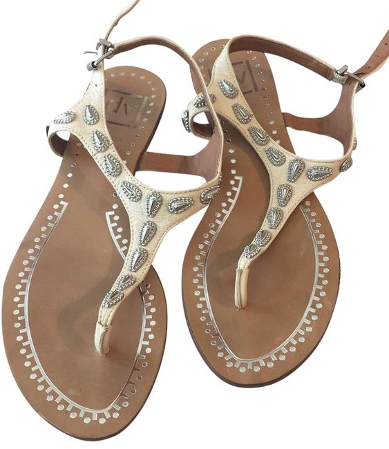 Item - Off White with Silver Paisley Sandals Size US 7.5 Regular (M, B)