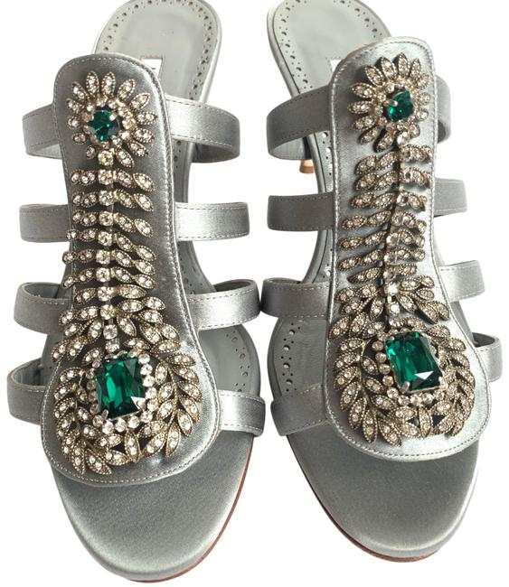 Item - Gray With Crystal Embellishments Mules/Slides Size EU 37.5 (Approx. US 7.5) Regular (M, B)