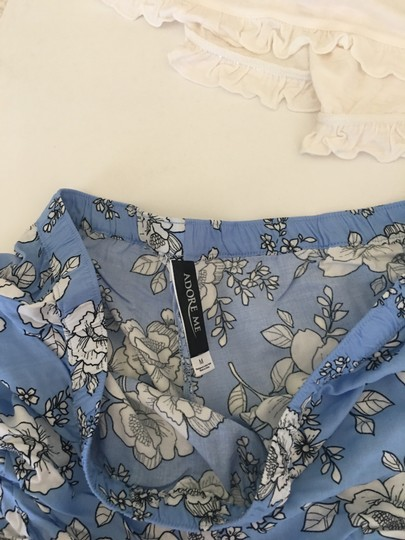 Adore Me Blue & White 2 Piece Bride Pajama Set By Sexy Wifey Top with Pj Shorts Image 2