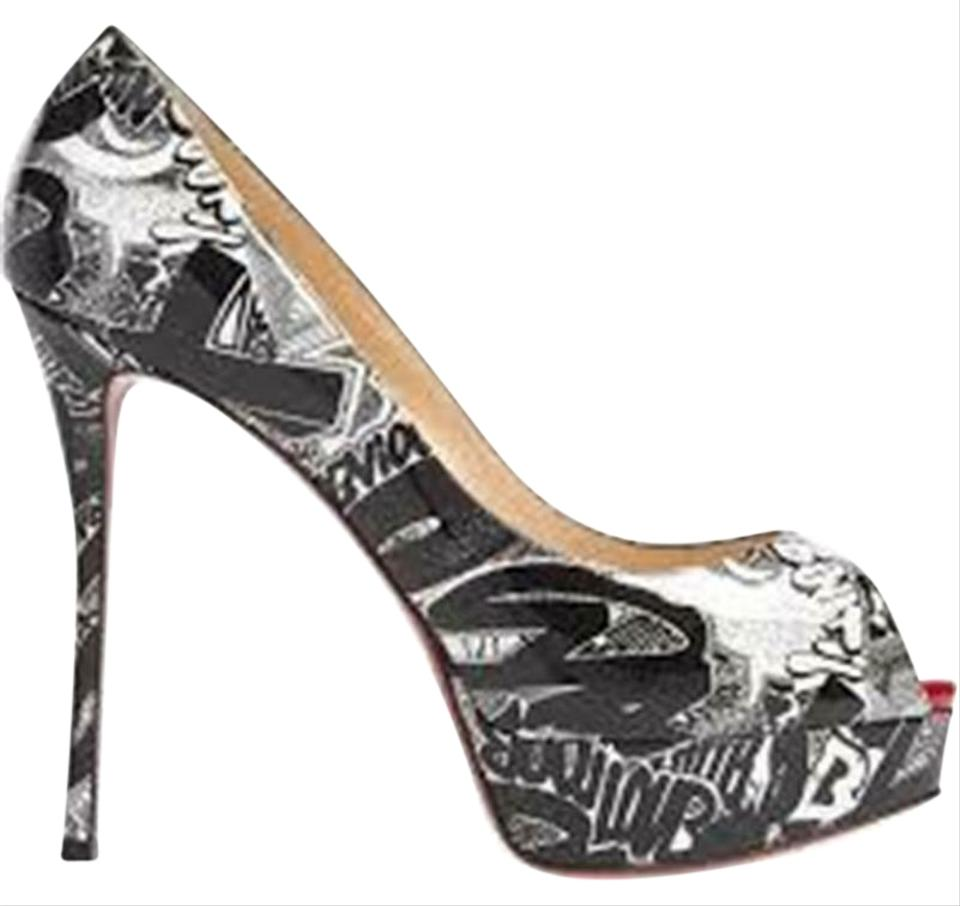 buy online 26069 5061f Christian Louboutin Black/White Graffiti Fetish 130 Patent Nicograf Heels  Pumps Platforms Size EU 37 (Approx. US 7) Regular (M, B) 28% off retail