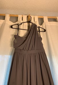 Alfred Angelo Charcoal Gray One Shoulder Formal Bridesmaid/Mob Dress Size 4 (S)