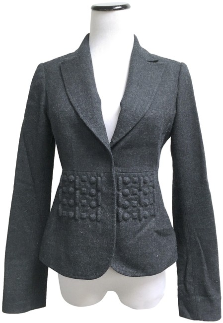 Item - Gray Philosophy Italy Trapunto Fitted Snap Blazer Size 4 (S)