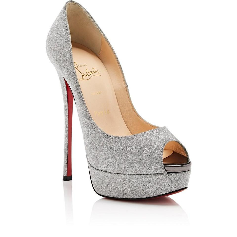 meet 8483d 5019c Christian Louboutin Silver Fetish 150 Peep Toe Calf Glitter Heels Pumps  Platforms Size EU 36.5 (Approx. US 6.5) Regular (M, B) 27% off retail