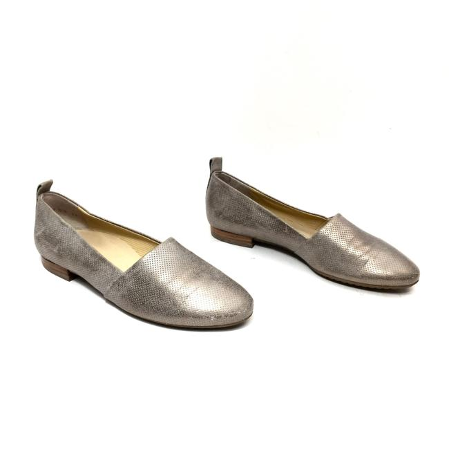 Paul Green Silver Perforated Distressed Leather Smoking Flats Size US 7 Regular (M, B) Paul Green Silver Perforated Distressed Leather Smoking Flats Size US 7 Regular (M, B) Image 1
