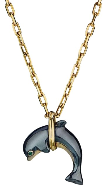 Item - Yellow Dolphin Pendant On A Chain 18k Gold Circa 1981 Necklace