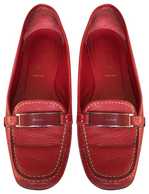 Item - Red Leather Loafer Flats Size EU 37 (Approx. US 7) Regular (M, B)