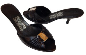 Salvatore Ferragamo Ruched Leather Logo Kitten Slides Black Sandals