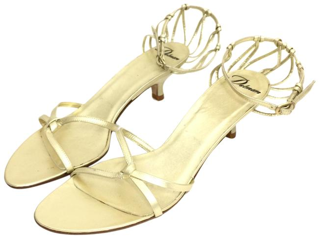 Item - Gold Leather Strappy Heels Sandals Size US 7.5 Regular (M, B)