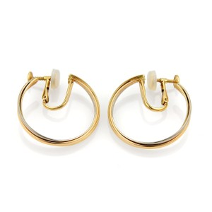Cartier Trinity 18k Tri-Color Gold Screw Back Hoop Earrings & Service Paper