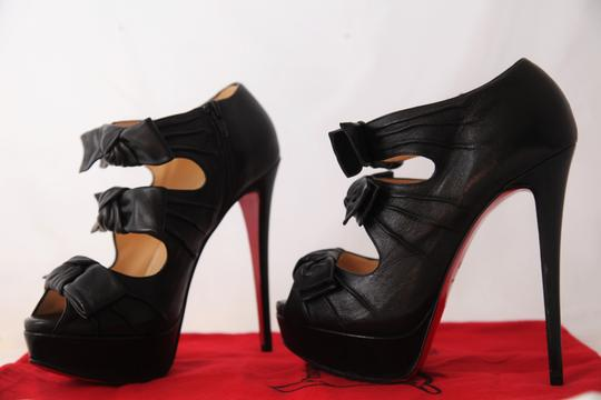 Christian Louboutin Thigh Pigalle Pumps Studs Spikes Sandals Slingback Ankle Black Boots Image 7