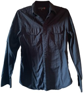 Guess G By Embroidery Shirt Mens Button Down Shirt Black