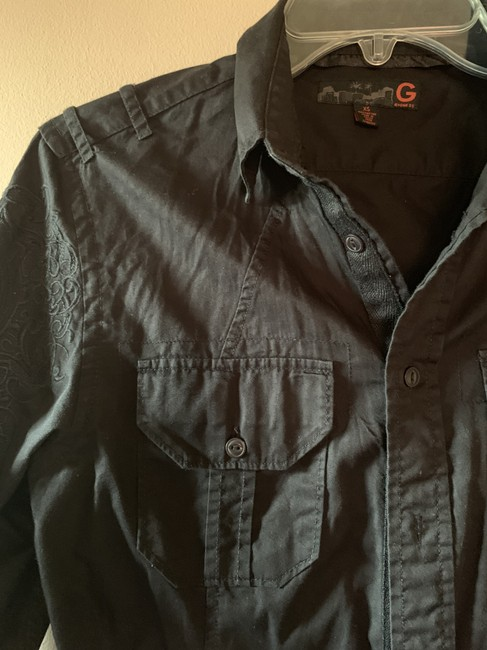 Guess G By Embroidery Shirt Mens Button Down Shirt Black Image 1