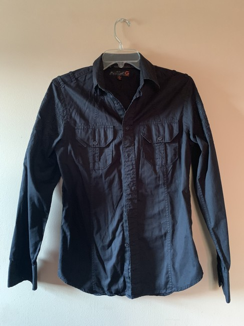 Guess G By Embroidery Shirt Mens Button Down Shirt Black Image 3