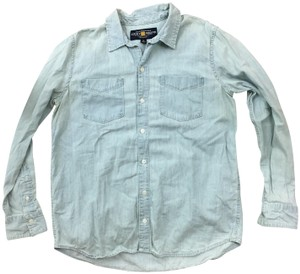 Lucky Brand Jean Country Southern Western Button Down Shirt Denim