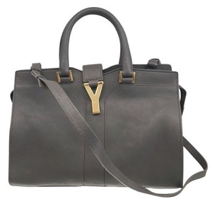 Saint Laurent Cabasy Cabas Leather Leather Satchel in Gray