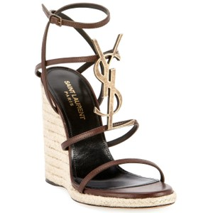 Saint Laurent Espadrilles 105 Ysl Logo Made In Italy Luxury Designer Ankle Strap Brown Chocolate Sandals