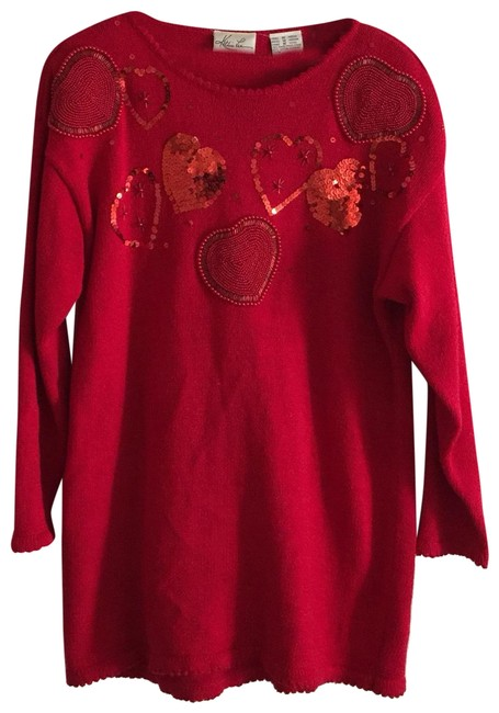 Item - Vintage Sequin Beaded Valentine Heart Red Sweater