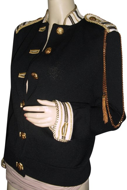 Item - Black Gold Marie Gray Cord Chains Emblem Braids Embroidered Jacket Size 10 (M)