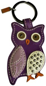 Coach Leather Owl Keyfob Keychain Charm 92756