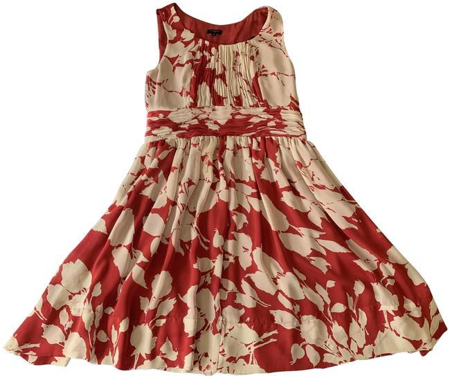 Item - White and Red Floral Watercolor 10p Mid-length Cocktail Dress Size Petite 10 (M)