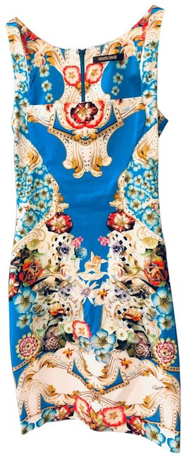 Item - Multi-color Print with Aqua Blue Background. Mid-length Night Out Dress Size 2 (XS)