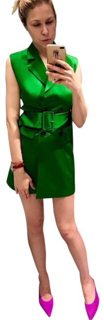 Item - Green Satin with Belt Short Night Out Dress Size 6 (S)