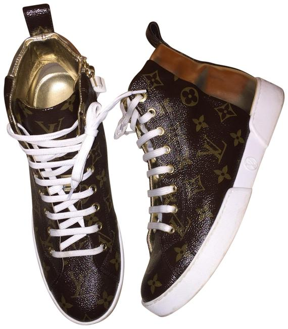 Item - Gold Stellar Frontrow Monogram Patent Boots Sneakers Size EU 38 (Approx. US 8) Regular (M, B)