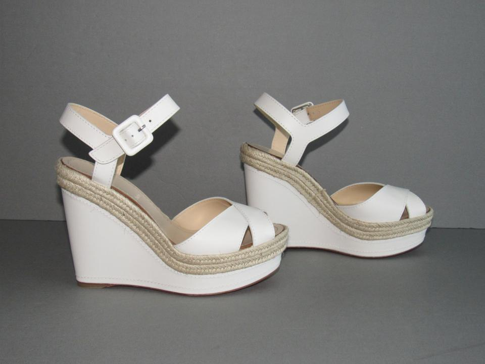 42e37f6fab7 Christian Louboutin White New Almeria 120 Snow Leather Jute Trim Wedges  Size EU 38 (Approx. US 8) Regular (M, B) 24% off retail
