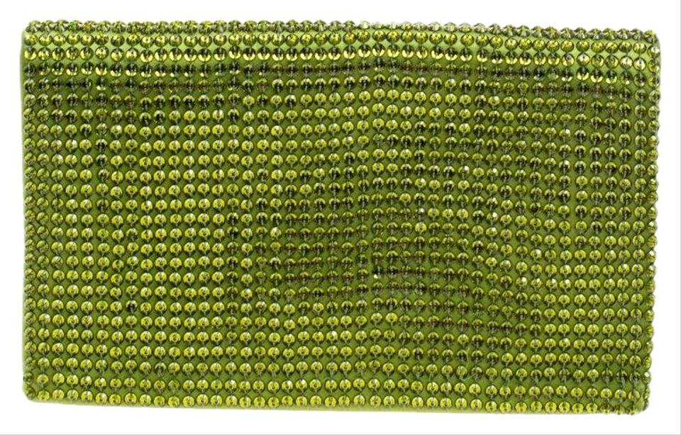 50ca7bbd27485 Tom Ford Crystal Embellished Flat Green Satin Clutch - Tradesy