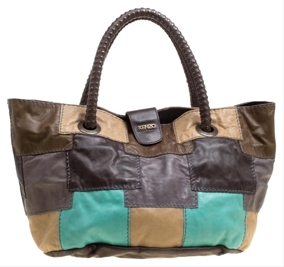 90b5cbc9 Kenzo Patch Work Multicolor Leather Hobo Bag 32% off retail