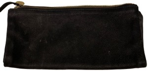 Clare V. Zipper Fold Over Leather black Clutch