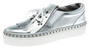 Burberry Detail Rubber Leather Silver Flats
