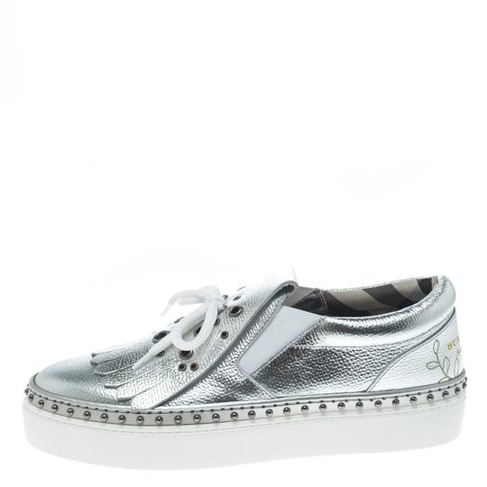 Burberry Detail Rubber Leather Silver Flats Image 4